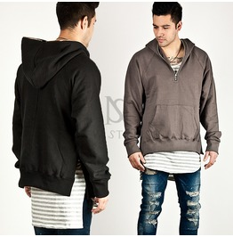 Side Incision Accent Neat Zipper Hoodie 78