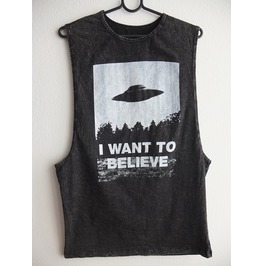 I Want To Believe Pop Rock Indie Stone Wash Vest Tank Top M