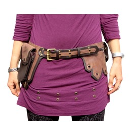 One Leaf Steampunk Leather Belt Waist Pack With 5 Pockets Brown And Tan