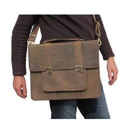 One Leaf Leather Laptop Messenger Bag For Macbook Pro Rugged Leather