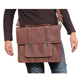 One Leaf Leather Messenger Bag For Men Macbook Pro Bag Mahogany Brown