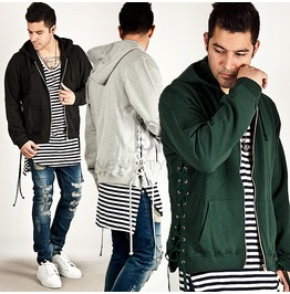Side Eyelet Incision Accent Neat Zip Up Hoodie 79