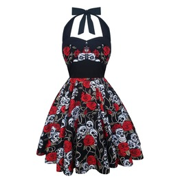 Rockabilly Skulls & Roses Dress Pin Up Dress Gothic Halloween Party Dress