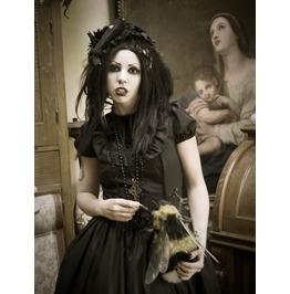 Gloomth Gothic Obsidian Dress With Velvet Cross Details Sizes Xs 2 Xl