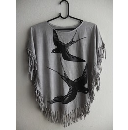 Bird Animal Fashion T Shirt Poncho Fringes
