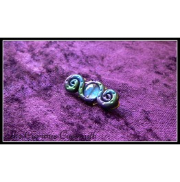 Blue, Purple & Green Abstract Tentacle Brooch With Blue Glass Eye