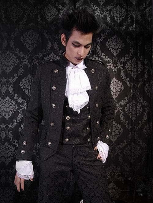 Black Pattern Short Gothic Jacket For Men 105034