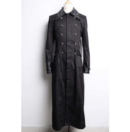Black Long Gothic Trench Coat For Men