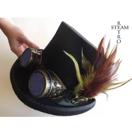 Steampunk Hat Green Feather Top Hat With Black Goggles Steampunk Top Hat