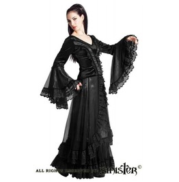 Gothic Medieval Victorian Long Skirt Black Lace Tulle Taffeta From Sinister