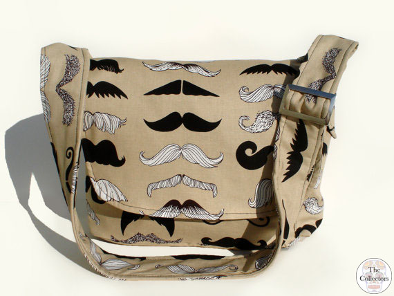 hipster mustache messenger bag