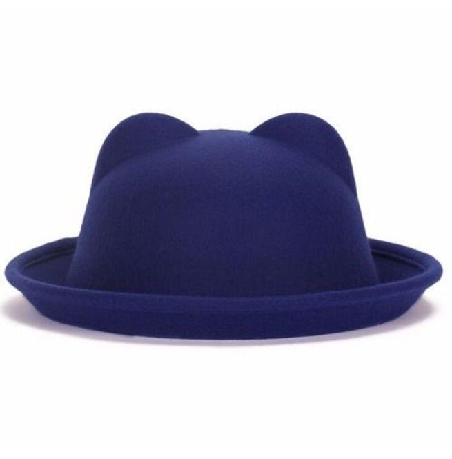 ea25c0ab25a Fun Royal Blue Light Felt Bowler Hat With Cute Ears