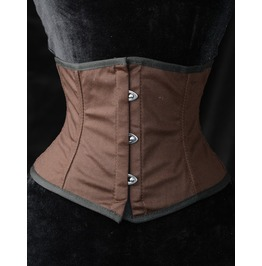 Steel Boned Steampunk Brown Cotton Waist Cincher $9 Worldwide Shipping