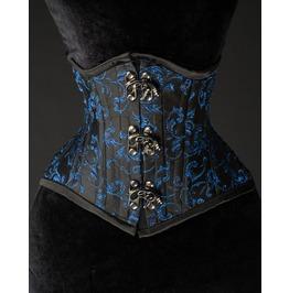 Black Steel Boned Blue Extreme Waist Cincher Victorian Goth Short Corset