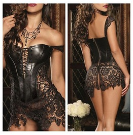 Steampunk Lace And Faux Leather Corset Gothic Fetish Basque T782 Kk