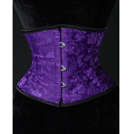 Purple Brocade Waist Cincher Steel Boning $9 Worldwide Shipping