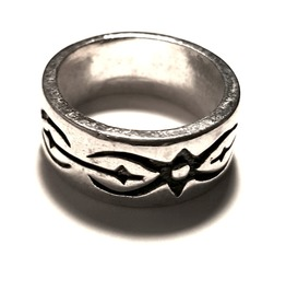Unique Script Tribal Ring Design Silver Metal Ring Us Size 7.5
