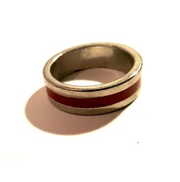 Unique Red Stripe Silver Metal Band Ring Us Size 9.5