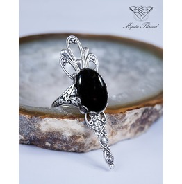 Jet Black Gem Gothic Victorian Adjustable Ring