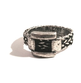 Unique Weaved Belt Design Gun Metal Ring Us Size 10
