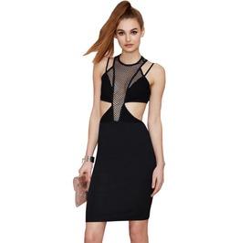 Sexy Cut Out Mesh Bodycon Black Dress