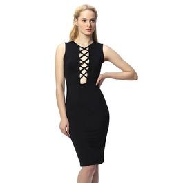 Sexy Cross Lace Bodycon Black Dress