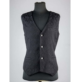 Black Pattern Mens Gothic Vest