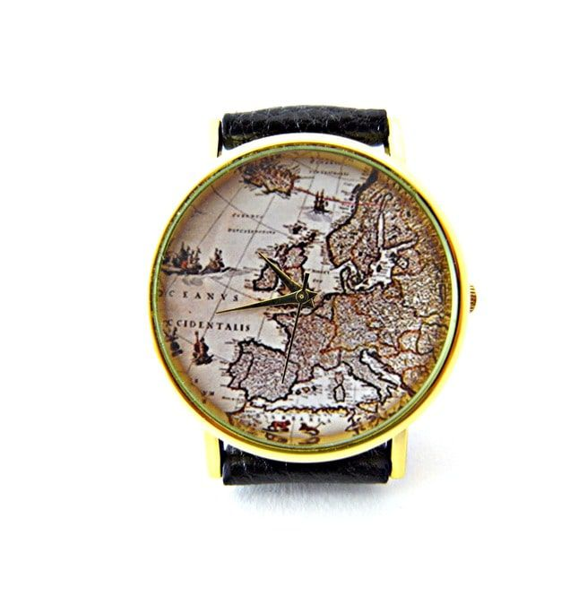 Map Watch, World Map Watch, Map Leather Watch, Woman Leather Watch P031