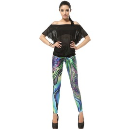 Colorful Pattern Print Leggings Pants