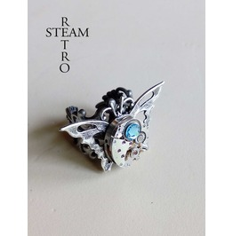 The Butterfly Effect Steampunk Ring Vintage Ring Aquamarine