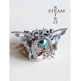 The Butterfly Effect Steampunk Ring Vintage Ring Green