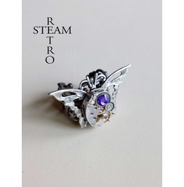 The Butterfly Effect Steampunk Ring Vintage Ring Purple