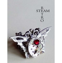 The Butterfly Effect Steampunk Ring Vintage Ring Red