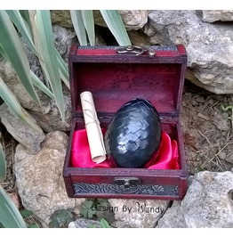 Dragon Egg In Wooden Chest, Black Dragon Egg With Dragon Story, Fantasy Art
