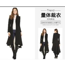 2016 New Fashion Black Women Long Coat
