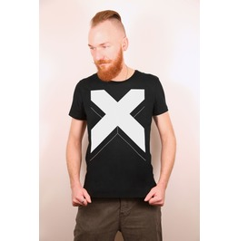 Big White Cross X Black T Shirt