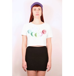 Pastel Moon Phases Crop Top T Shirt