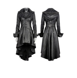 Jw096 Gothic Leather Dovetail Robe Jacket With Eyelets Cap