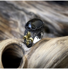 """Sterling Silver Black Onyx Ring """"Black Lily"""". Gothic Style. Made To Order"""