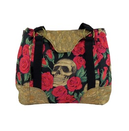 Skull In Roses Red Harriet Expandable Tote With Cork Accents Vegan