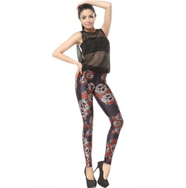 Skull Rose Flower Print Leggings Pants