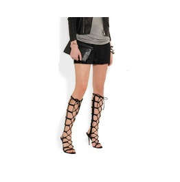 New Sexy Women Black Stiletto Heel Knee High Hollow Out Gladiator Sandals