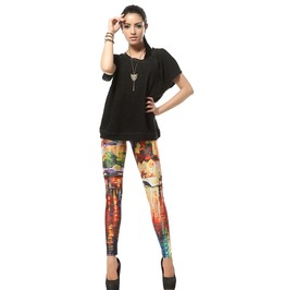 Oil Painting Style Print Leggings Pants