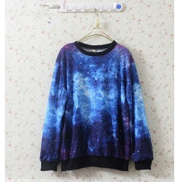 Blue Star Galaxy Print Hoodies Sweater