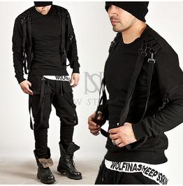 Multiple Suspender Accent Black Banded Hem Tee 432
