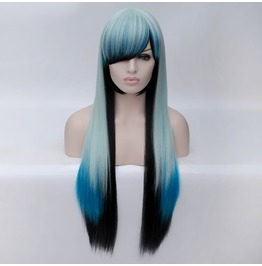 X X Black And Blue Xx Long Kankelon Synthetic Scene Wig
