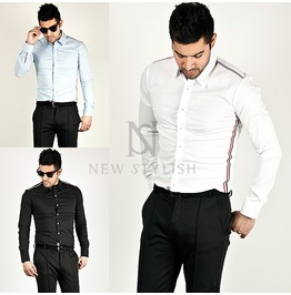 Colored Stripe Strap Accent Slim Shirts 110