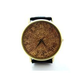 Zodiac Signs Leather Wrist Watch, Unique Handmade Wrist Watch P297
