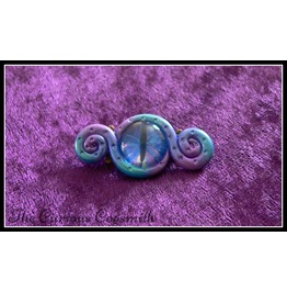Purple, Blue & Green Abstract Tentacle Brooch With Blue Glass Eye