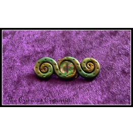 Gold & Green Tones Abstract Tentacle Brooch With Blue Glass Eye